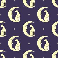 Cat sitting on moon pattern background vector