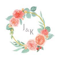 Mão de aquarela floral pintada com borda de quadro de grinaldas de texto, exuberante flores aquarelle isolado no fundo branco. Design flores decoração para cartão, salvar a data, cartões de convite de casamento, cartaz, banner design.