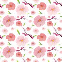 Pink hibiscus and sakura seamless background