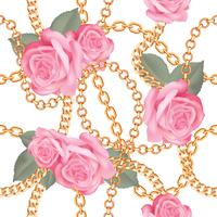 Seamless pattern background with golden chains and pink realistic roses. On white. Vector illustration