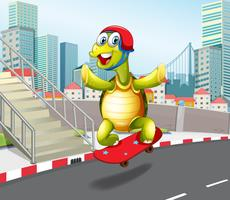 Turtle skateboarding in urban town