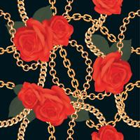 Seamless pattern background with golden chains and red roses. On black. Vector illustration
