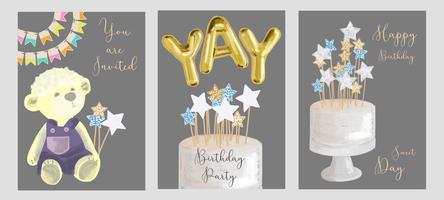 Conjunto de design de cartões de aniversário.