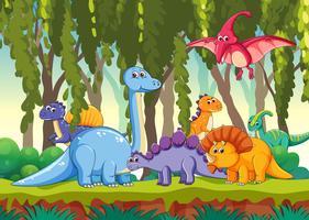 Olika dinosaurier i skogen