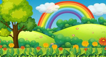 Beautiful Green Mountain and Rainbow vector