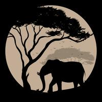 Silhouette scene with elephant and tree