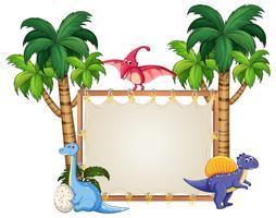 Dinosaurio en banner en blanco
