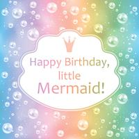 Birthday card for little girl. Blurred background, pearls and frame. Vector illustration