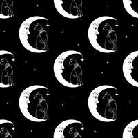 Cat sitting on moon. Night sky seamless pattern background. Cute magic, occult design. Vector
