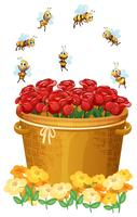 A basket of red roses with bees