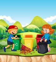 Crianças limpando a folha no parque vetor