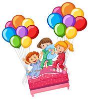Tres chicas en fiesta de pijamas