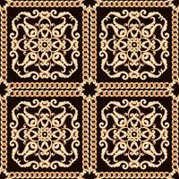 Patrón de damasco sin fisuras. Oro en textura negro con cadenas. Ilustracion vectorial