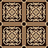 Seamless damask pattern. Gold on black texture with chains. Vector illustration.