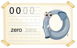 Elephant zero number worksheet vector