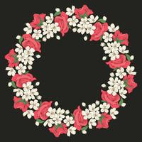 Floral round pattern on black background. Vector illustration