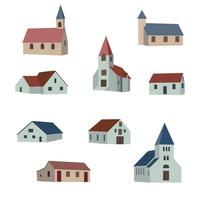 Set collection of village houses. Vector