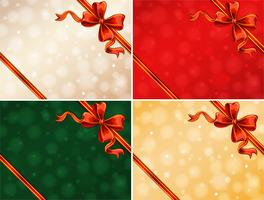 Four background template with red ribbons