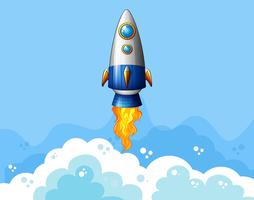 Rocket flying in the sky vector