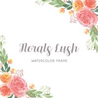 Watercolor florals hand painted with text wreaths frame border, lush flowers
