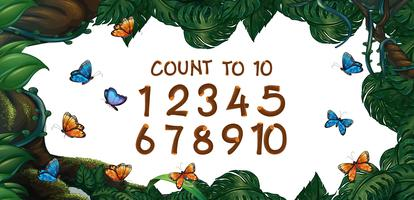 Counting numbers one to ten with forest background