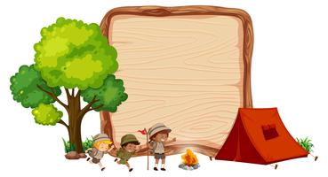 Camping kids on wooden banner