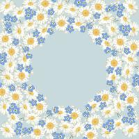 chamomile and forget me-not-flowers pattern on blue background