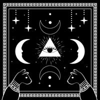 Black cats, night sky with moon and stars. Frame for sample text. Magic, occult symbols.