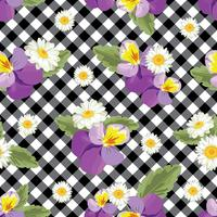 Floral seamless pattern. Pansies with chamomiles on black and white gingham, chequered background. Vector illustration