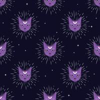 Violet cat face with moon on night sky seamless pattern background. Cute magic, occult design.