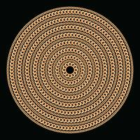 Round pattern made with golden chains. On black. Vector illustration