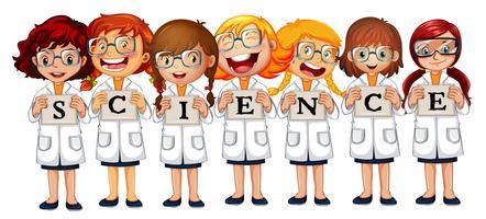 Mädchen in Wissenschaftsmänteln und Wortwissenschaft