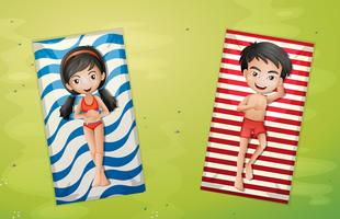 Menino menina, relaxante, ligado, toalha, vista aérea