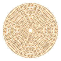 Round pattern made with golden chains. Isolated on the white background. Vector illustration