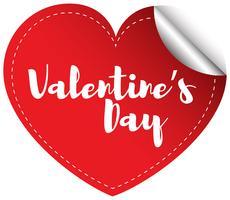 Valentinsgrußaufkleberschablone mit rotem Herzen