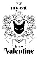 Valentine card concept. Black cat facein ornamental vintage heart shaped frame with hands and text.