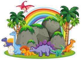 Muchos dinosaurios en la naturaleza