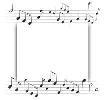Pappersmall med musikanteckningar i bakgrunden