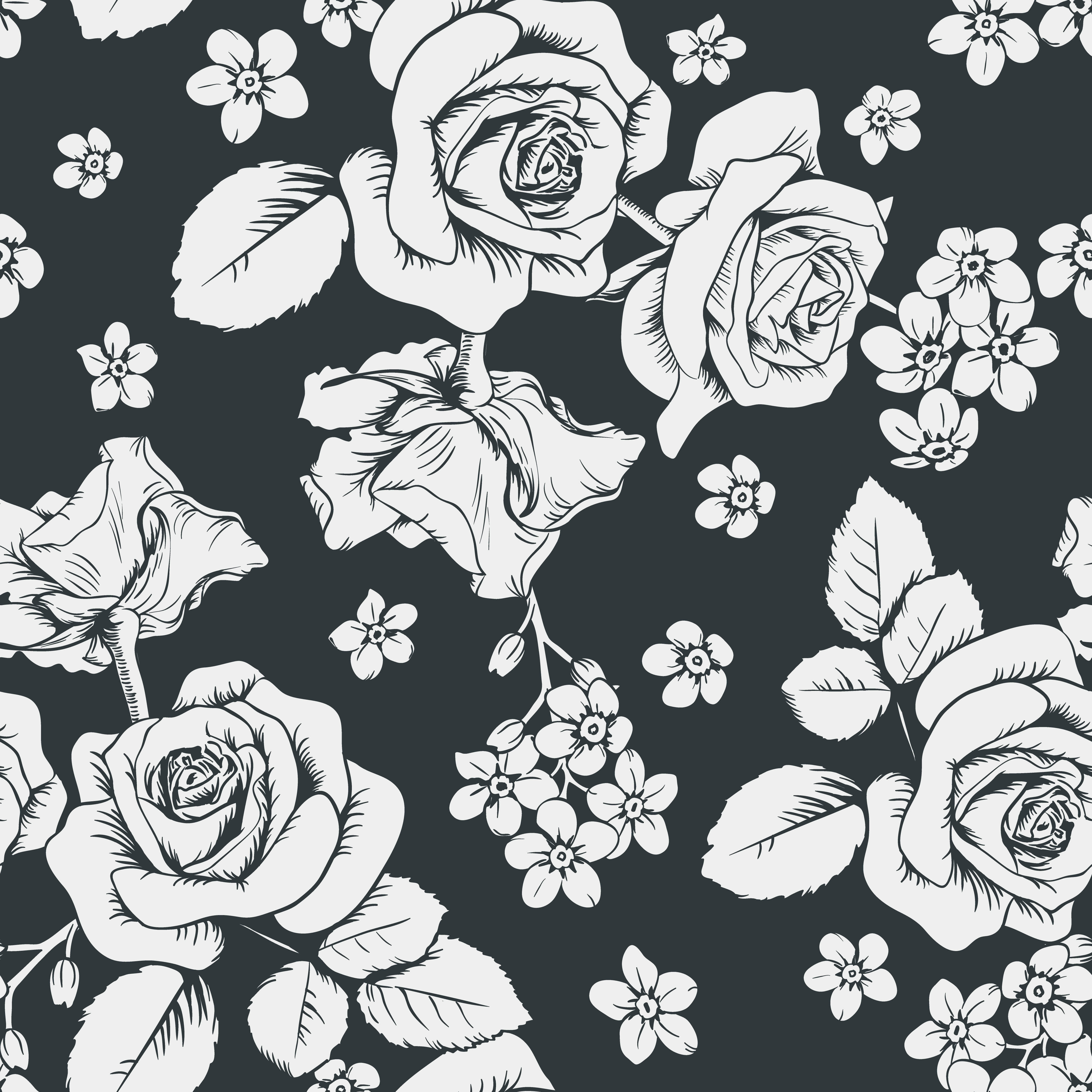 White Roses And Myosotis Flowers On Black Background Seamless