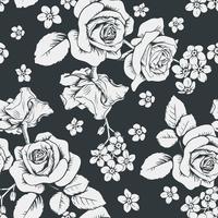 Rosas blancas y flores del myosotis en fondo negro. Patrón sin costuras Vector illustartion
