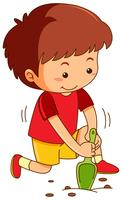 Boy with garden spoon digging hole vector