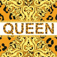 Yellow ornamental element on animal leopard texture with chains and text queen. Vector illustration