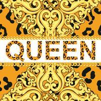 Elemento decorativo amarelo na textura animal do leopardo com correntes e rainha do texto. Ilustração vetorial