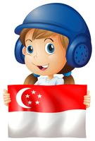 Happy girl and flag of Singapore