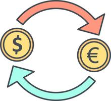Exchange Euro With Dollar Vector Icon