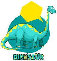 Sticker template with dinosaur brachiosaurus