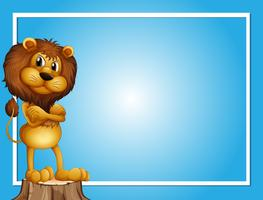 Blue background template with lion on log