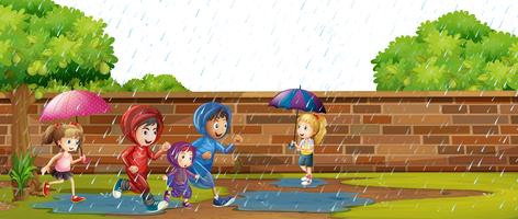 Kids Playing in the Rain vector