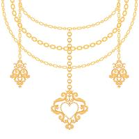 Background with chains golden metallic necklace and pendant with heart. On white