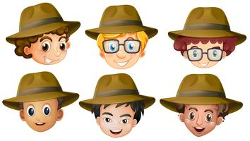 Heads of boys with brown hats